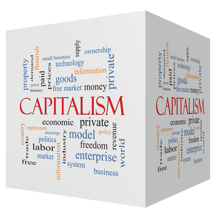 capitalism: Capitalism 3D cube Word Cloud Concept with great terms such as economic, private, free and more. Stock Photo