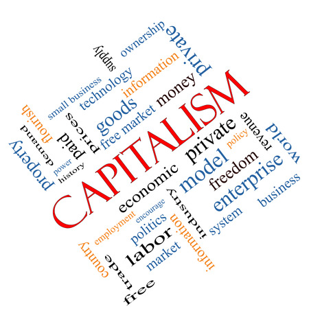 private cloud: Capitalism Word Cloud Concept angled with great terms such as economic, private, free and more. Stock Photo