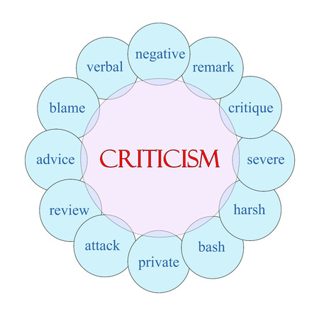 Criticism concept circular diagram in pink and blue with great terms such as negative, remark, severe and more.