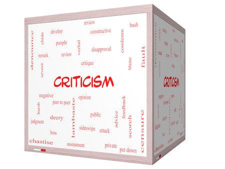 Criticism Word Cloud Concept on a 3D cube Whiteboard with great terms such as opinion, blame, critique and more. Reklamní fotografie