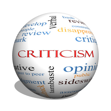 critique: Criticism 3D sphere Word Cloud Concept with great terms such as opinion, blame, critique and more.