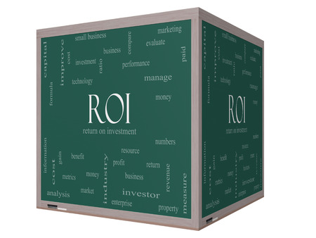 ROI Word Cloud Concept on a 3D cube Blackboard with great terms such as return, investment and more.