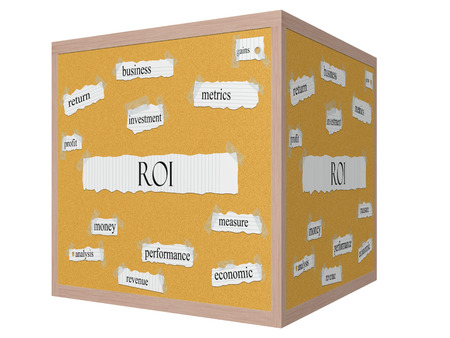 ROI 3D cube Corkboard Word Concept with great terms such as metrics, profit, gains and more.