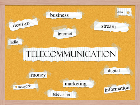 Telecommunication Corkboard Word Concept with great terms such as internet, stream, data and more. Stock Photo