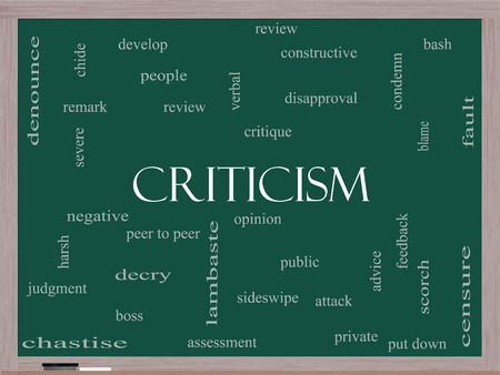 critique: Criticism Word Cloud Concept on a Blackboard with great terms such as opinion, blame, critique and more.