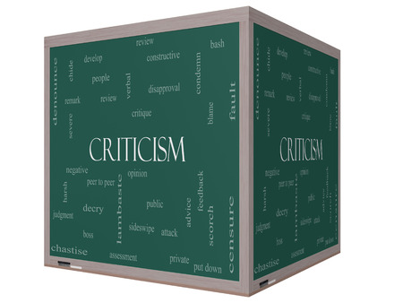 criticism: Criticism Word Cloud Concept on a 3D cube Blackboard with great terms such as opinion, blame, critique and more.