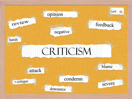 opinion: Criticism Corkboard Word Concept with great terms such as harsh, opinion, bash and more.