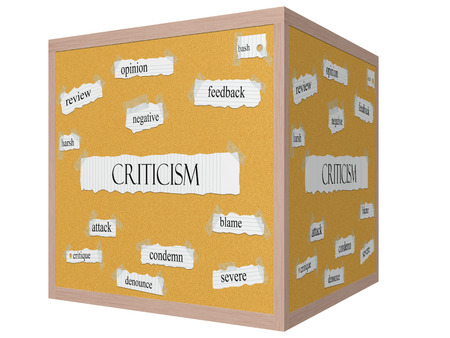 opinion: Criticism 3D cube Corkboard Word Concept with great terms such as harsh, opinion, bash and more.