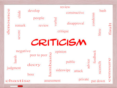 opinion: Criticism Word Cloud Concept on a Whiteboard with great terms such as opinion, blame, critique and more.