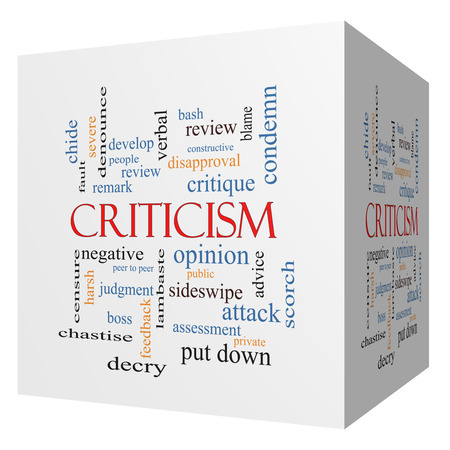 critique: Criticism 3D cube Word Cloud Concept with great terms such as opinion, blame, critique and more. Stock Photo
