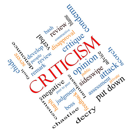 opinion: Criticism Word Cloud Concept angled with great terms such as opinion, blame, critique and more.