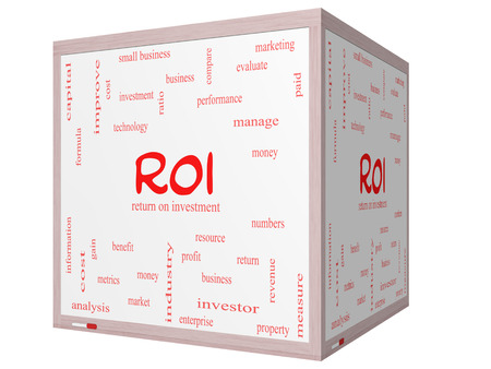 ROI Word Cloud Concept on a 3D cube Whiteboard with great terms such as return, investment and more.
