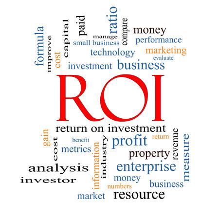 retour: ROI Word Cloud Concept met grote termen als rendement, investeringen en meer.