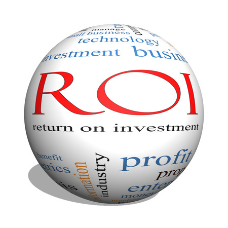 paid: ROI 3D sphere Word Cloud Concept with great terms such as return, investment and more.