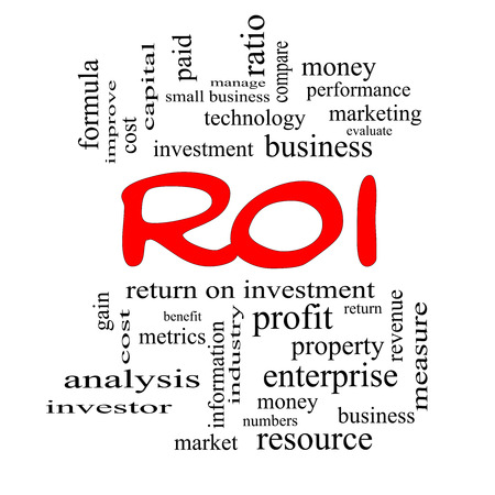ROI Word Cloud Concept in red caps with great terms such as return, investment and more. photo