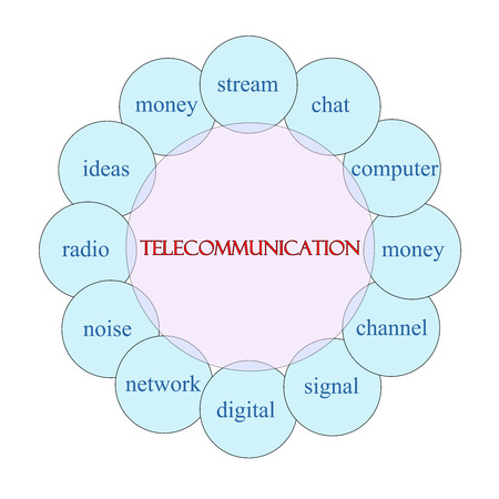 Telecommunication concept circular diagram in pink and blue with great terms such as stream, chat, computer and more. Imagens