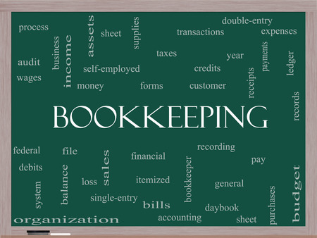 Bookkeeping Word Cloud Concept on a Blackboard with great terms such as financial, records, ledger and more. photo