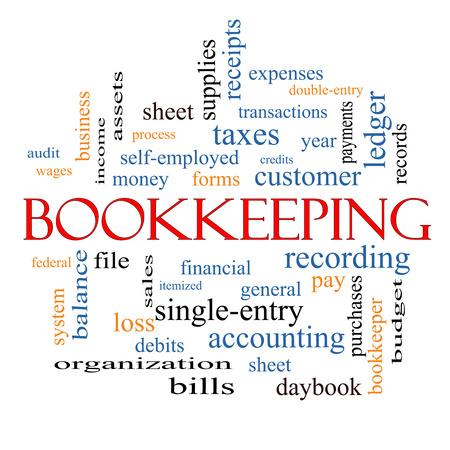 簿記単語雲概念など金融、記録、総勘定元帳の偉大な条件で。
