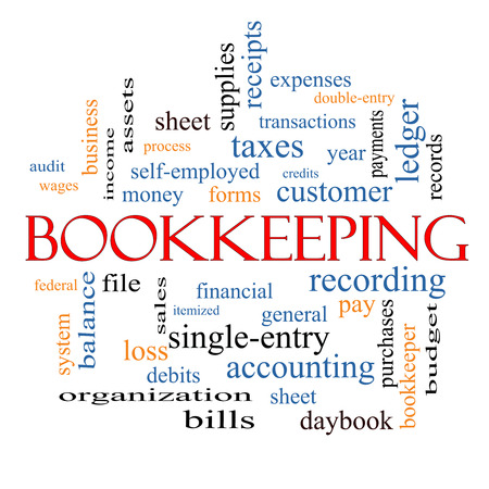 Bookkeeping Word Cloud Concept with great terms such as financial, records, ledger and more. photo