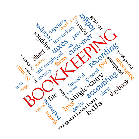 ledger: Bookkeeping Word Cloud Concept angled with great terms such as financial, records, ledger and more. Stock Photo