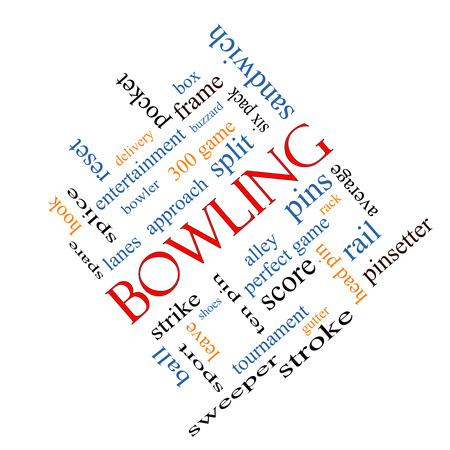 splice: Bowling Word Cloud Concept angled with great terms such as frame, strike, ball and more.