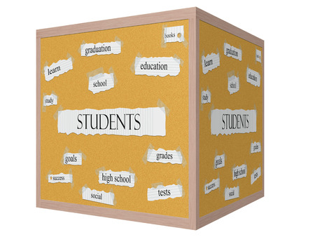 Students 3D cube Corkboard Word Concept with great terms such as education, books, study and more. 版權商用圖片
