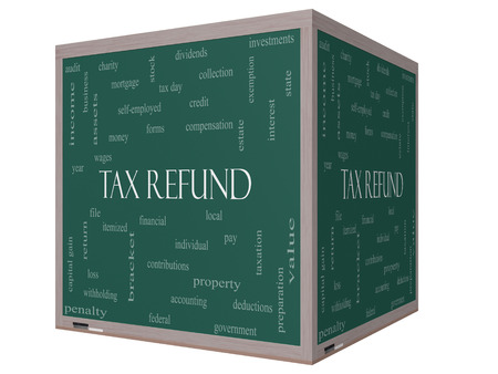 tax bracket: Tax Refund Word Cloud Concept on a 3D cube Blackboard with great terms such as income, file, money and more.