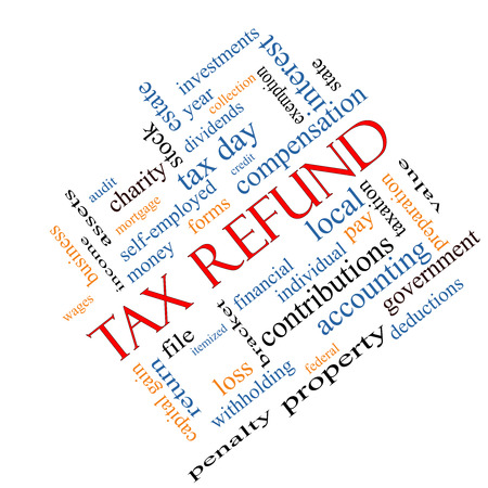 Tax Refund Word Cloud Concept angled with great terms such as income, file, money and more. Stock Photo
