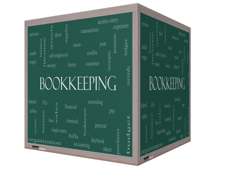 Bookkeeping Word Cloud Concept on a 3D cube Blackboard with great terms such as financial, records, ledger and more. photo