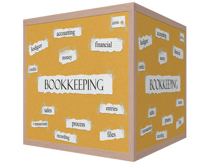 ledger: Bookkeeping 3D cube Corkboard Word Concept with great terms such as ledger, money, entries and more.