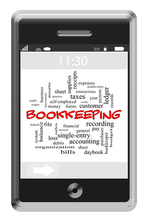 ledger: Bookkeeping Word Cloud Concept of Touchscreen Phone with great terms such as ledger, entries, money and more.