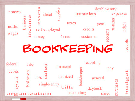 ledger: Bookkeeping Word Cloud Concept on a Whiteboard with great terms such as financial, records, ledger and more.