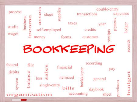 registros contables: Contabilidad Palabra Nube Concepto en una pizarra con los términos de la talla financiera, registros, contabilidad y más.