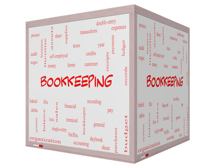 Bookkeeping Word Cloud Concept on a 3D cube Whiteboard with great terms such as financial, records, ledger and more. photo