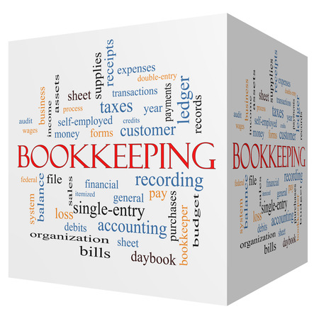 Bookkeeping 3D cube Word Cloud Concept with great terms such as financial, records, ledger and more. photo