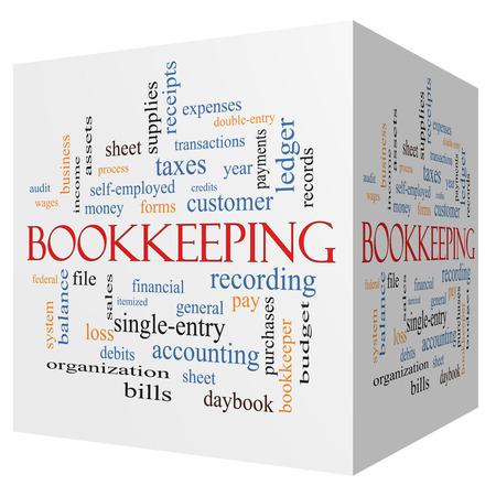 registros contables: Contabilidad cubo 3D Palabra Nube Concepto con los términos tales como financiera, registros, contabilidad y más.