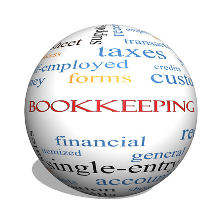 ledger: Bookkeeping 3D sphere Word Cloud Concept with great terms such as financial, records, ledger and more. Stock Photo