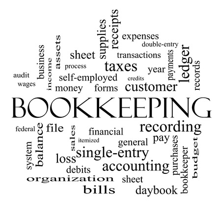 ledger: Bookkeeping Word Cloud Concept in black and white with great terms such as financial, records, ledger and more.