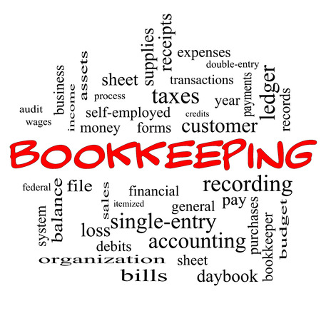 single word: Bookkeeping Word Cloud Concept in red caps with great terms such as financial, records, ledger and more.