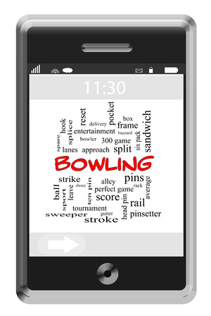 splice: Bowling Word Cloud Concept of Touchscreen Phone with great terms such as pins, ball, strike and more. Stock Photo