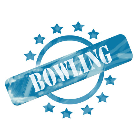 A blue ink weathered roughed up circle and stars stamp design with the word BOWLING on it making a great concept. photo
