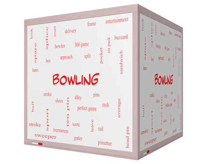 splice: Bowling Word Cloud Concept on a 3D cube Whiteboard with great terms such as frame, strike, ball and more.