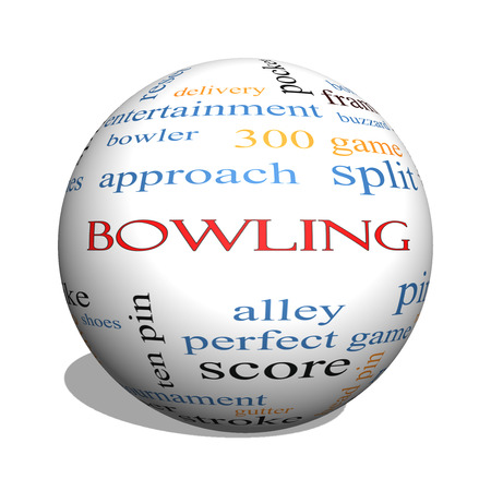 Bowling 3D sphere Word Cloud Concept with great terms such as frame, strike, ball and more.