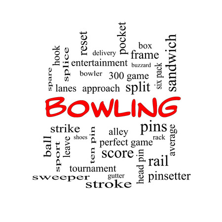 Bowling Word Cloud Concept in red caps with great terms such as frame, strike, ball and more. photo