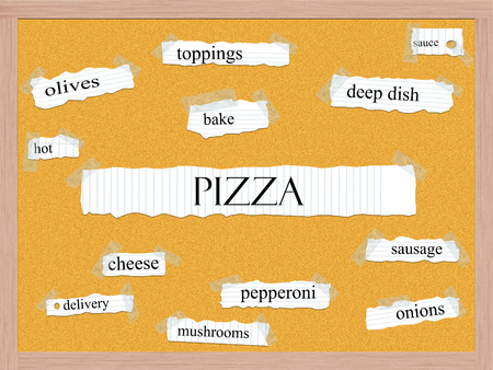 Pizza Corkboard Word Concept with great terms such as sauce, bake, sausage and more. photo