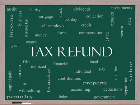 Tax Refund Word Cloud Concept on a Blackboard with great terms such as income, file, money and more.