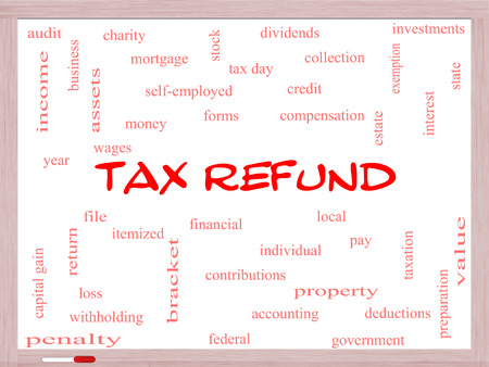 Tax Refund Word Cloud Concept on a Whiteboard with great terms such as income, file, money and more.