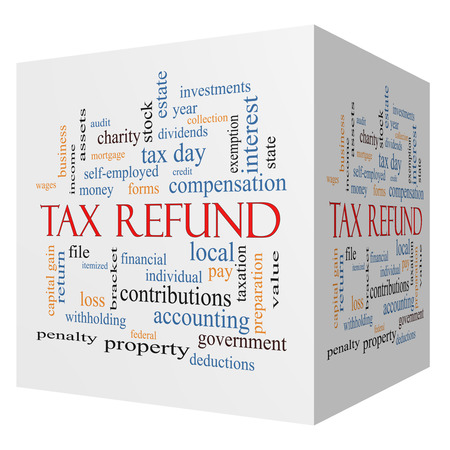 exemption: Tax Refund 3D cube Word Cloud Concept with great terms such as income, file, money and more. Stock Photo
