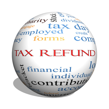 tax bracket: Tax Refund 3D sphere Word Cloud Concept with great terms such as income, file, money and more.