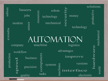 Automation Word Cloud Concept on a Blackboard with great terms such as robots, machine, logistics and more.